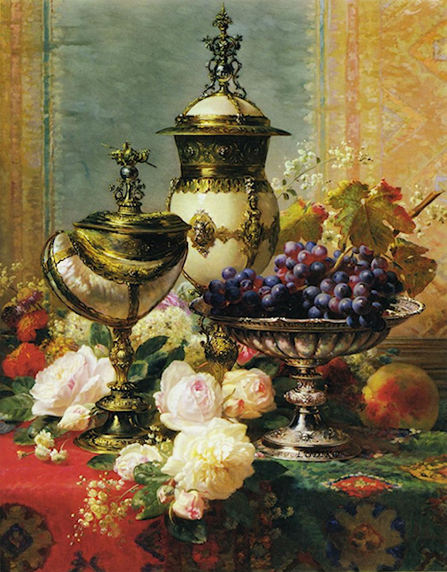 Bouquet dans un vase, une corbeille, une coupe, une poterie  180917122111670810