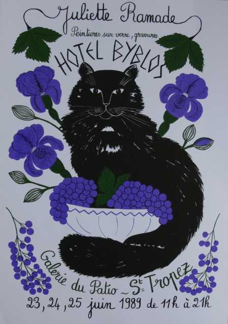 affiche-chat-originale-serigraphie-signee-de-juliette-ramade-saint-tropez-1989