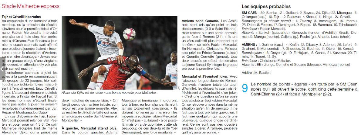 [8e journée de L1] SM Caen 1-0 Amiens SC 18092911051037923