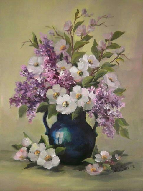 Bouquet dans un vase, une corbeille, une coupe, une poterie  - Page 2 181015120513349838