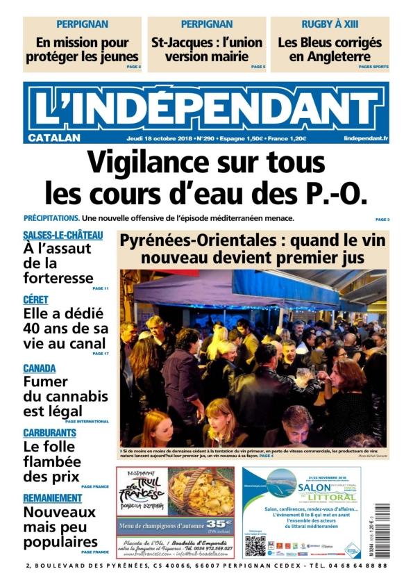 l'indépendant catalan du jeudi 18 octobre 2018