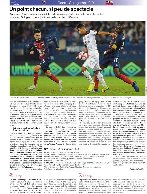 [10e journée de L1] SM Caen 0-0 EA Guingamp 18102108173924105