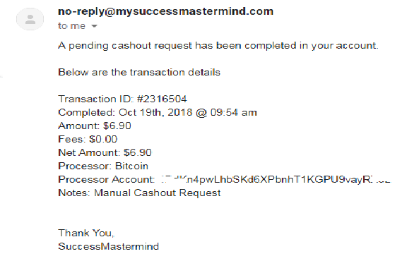 My Success Mastermind Preuve de paiement 181022041114530962