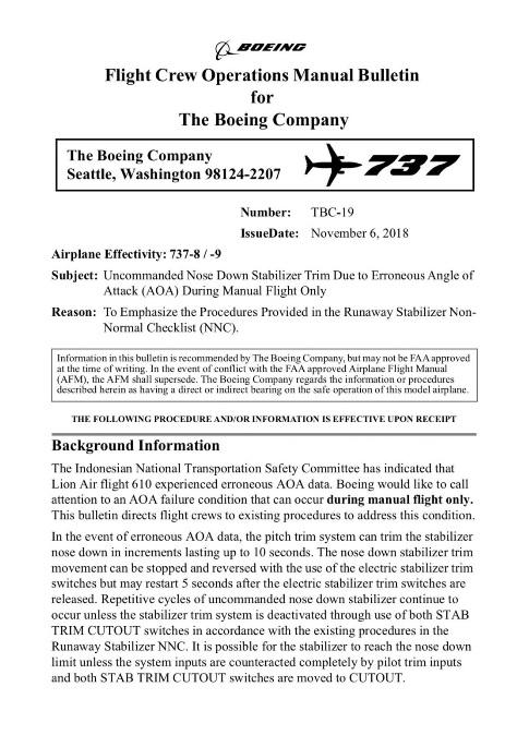 737 bulletin 1