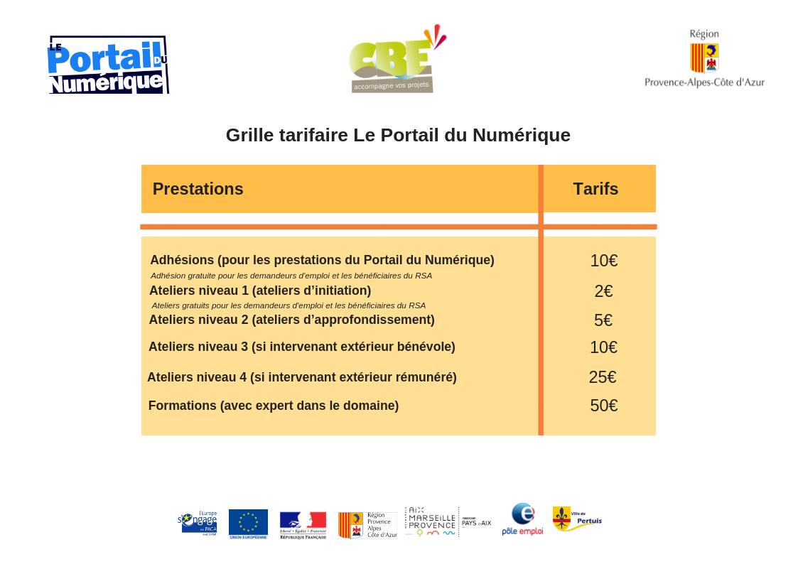 Grille tarifaire Le portail du numerique 2018