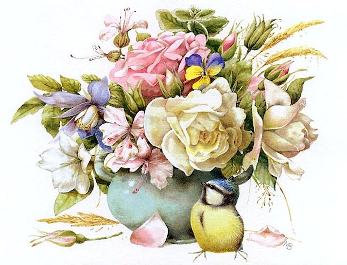 Bouquet dans un vase, une corbeille, une coupe, une poterie  - Page 2 181116080306695204