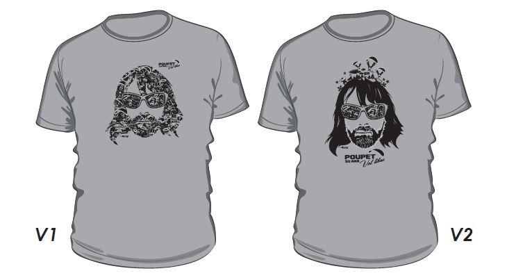 tee shirt ecole de parapente poupet vol libre gris