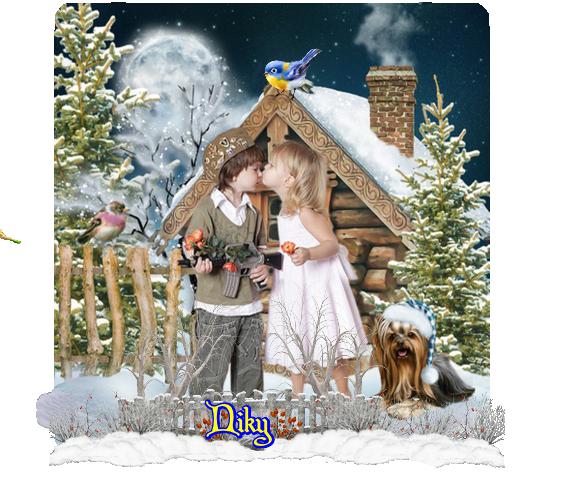enfant maison neige