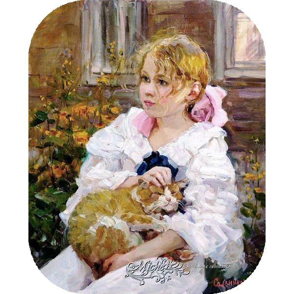 43.fillette.et.chaton. Art Salnikova
