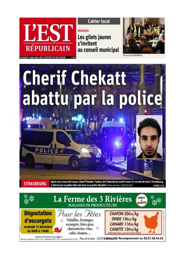L'Est Républicain Besançon du vendredi 14 décembre 2018