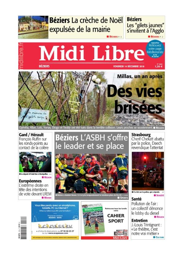 Midi Libre Béziers du vendredi 14 décembre 2018