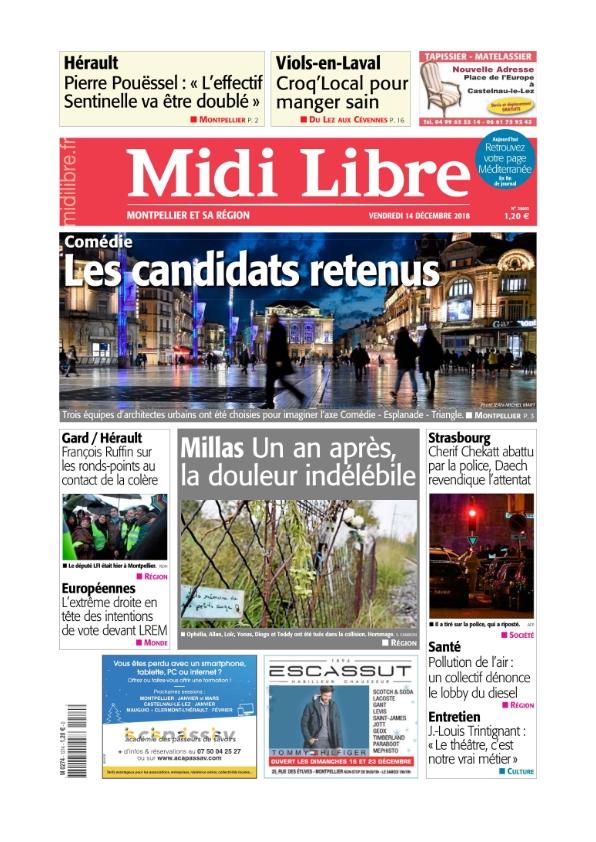 Midi Libre Montpellier du vendredi 14 décembre 2018
