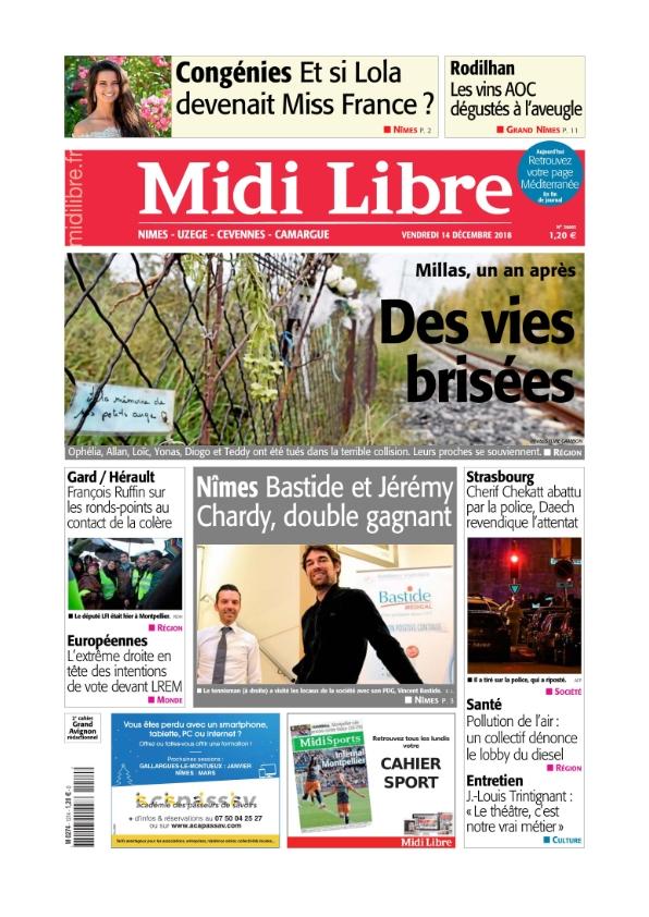 Midi Libre Nimes Uzèges camargues cévennes du vendredi 14 décembre 2018