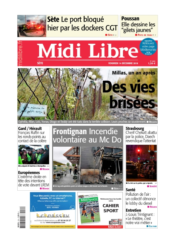Midi Libre Sète du vendredi 14 décembre 2018