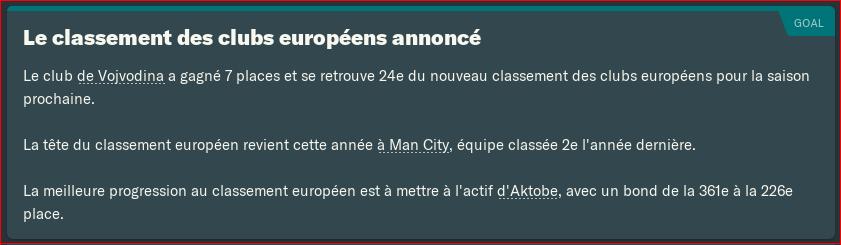 Classement club